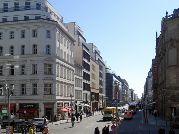 Fashion and lifestyle, view into Friedrichstraße